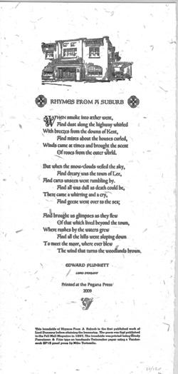 Plunkett, Edward (Lord Dunsany). Broadside Poem.