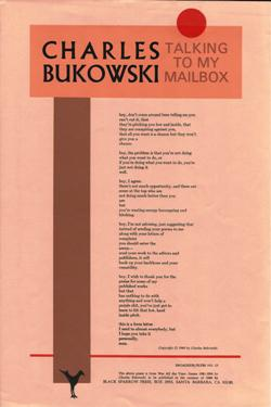 Talking To My Mailbox: A Broadside Poem. Broadside, Charles Bukowski.