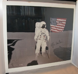 Photograph of the Moonwalker on the Moon. Signed By Mitchell. Astronaut Photograph, Edgar Mitchell