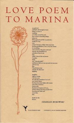 Love Poem to Marina: Broadside Poem. Broadside Poem, Charles Bukowski
